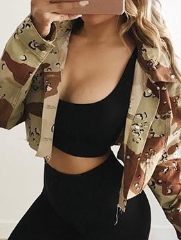 Trendy Long Sleeve Cropped Camo Jacket