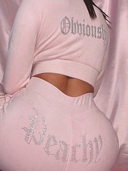 Back Shiny Rhinestones Letter 2 Piece Pants Set
