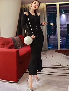 Simple Pure Color Slit Long Sleeve Maxi Dress