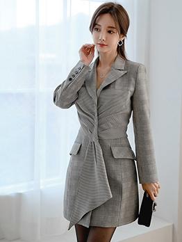 OL Style Front Twisted Long Sleeve Blazer Dress