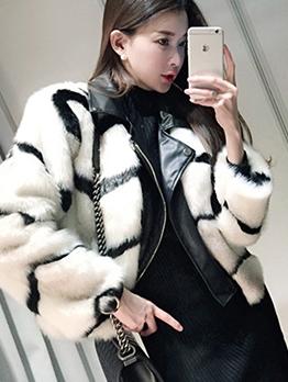 New Patchwork Fur Long Sleeve Short Coat