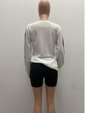 Euro Style Long Sleeve Printed Crewneck Sweatshirt