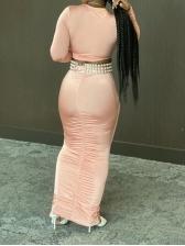 Deep V Neck Ruched Two Piece Skirt Set
