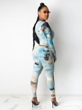 Tie Dye Long Sleeve Crop Top And Pant Set