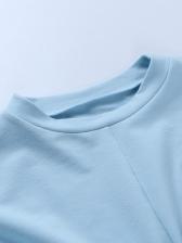 Solid Long Sleeve Sweatshirt Two Piece Pants Set