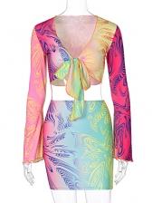 Nightclub Colourful Sexy Cropped Skirt Set