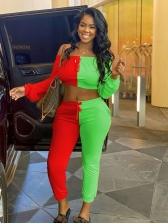 Casual Fashion Contrast Color Long Pants Set