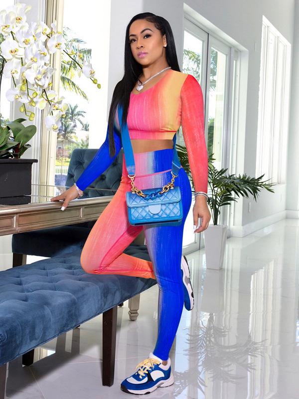 Gradient Color Print Crop Top And Pant Set