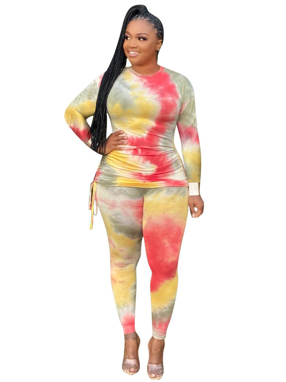 Tie Dye Print Plus Size Two Piece Sets