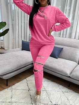 Multiple Zippers Solid Color 2 Piece Pants Set