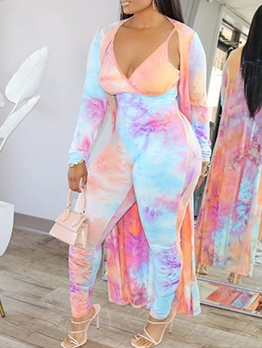 Mixed Color Tie Dye Jumpsuit With Long Coat