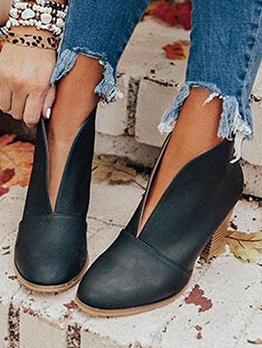 Versatile Solid Chunky Heel Ladies Boots