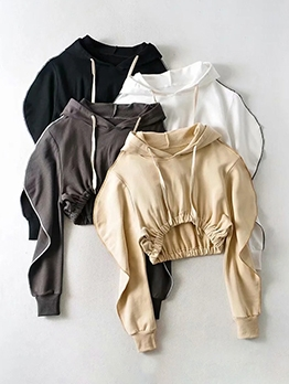 Elastic Waist Solid Color Hoodies For Women