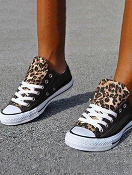 Leopard Patchwork Canvas Women Sneakers Shoes