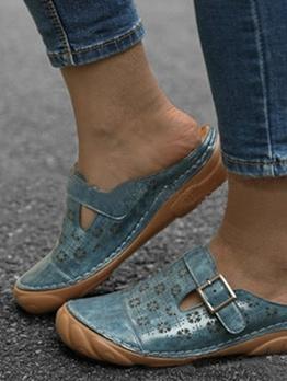 Closed Round Toe Women Slip On Shoes