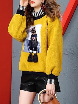 Patchwork Fashion Fur Thicken Sweatshirt
