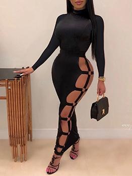 Sexy Cutout Solid Long Sleeve Maxi Dress