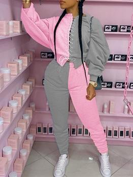 Stylish Contrast Color Lace Up Sweatshirt 2 Piece Sets