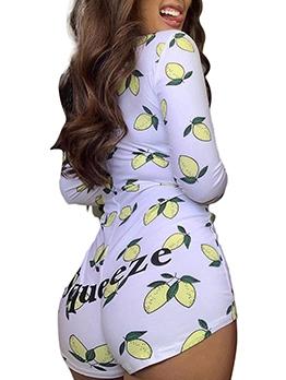 Fruit Print Button Up Long Sleeve Romper