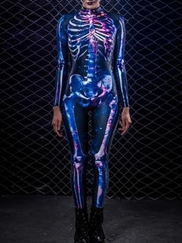 Halloween Skeleton Print Long Sleeve Bodycon Jumpsuit