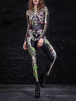 Halloween Skeleton Print Mock Neck Bodycon Jumpsuit