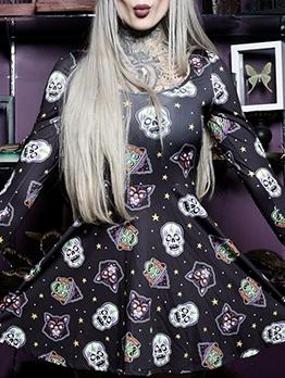 Halloween Skull Print Long Sleeve Short Dress