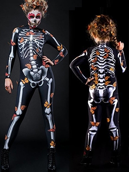 Halloween Mother And Girls Skeleton Print Bodycon Jumpsuit