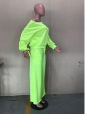 Pure Color Long Sleeve Wide Leg Pants 2 Piece Sets