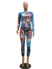 Trendy Printing Mock Neck 2 Piece Pants Set
