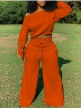 Tie-Bow Cuff Solid Color Wide Leg 2 Piece Set