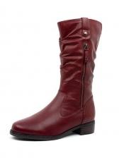 Euro Solid Side Zipper Cowboy Boots