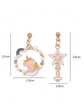 Cute Creative Pink Pony Star Earrings