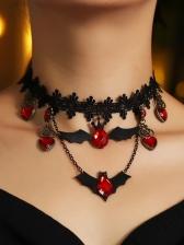 Create Lace Bat Pendant Halloween Necklace