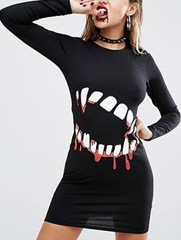 Halloween Bloody Teeth Print Long Sleeve Short Dress