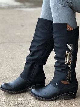 Stylish Side Zipper Women Cowboy Boots