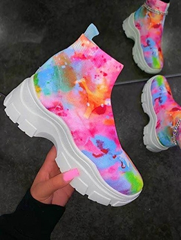 Chic Tie Dye Height Increasing Snow Boots