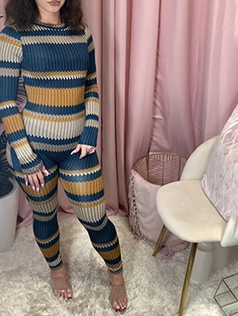 Contrast Color Long Sleeve Skinny One Piece Jumpsuit