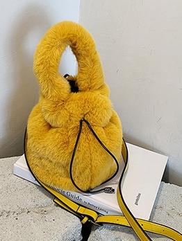 Soft Plush Drawstring Solid Bucket Handbags