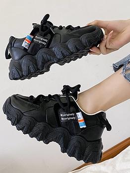 Casual Solid Patchwork Ladies Platform Sneakers
