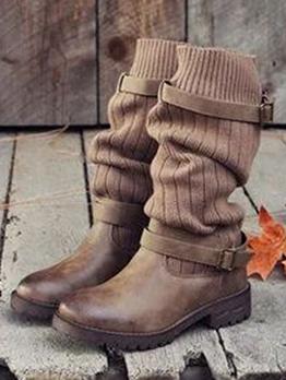 Stylish Solid Women's Western Cowboy Boots