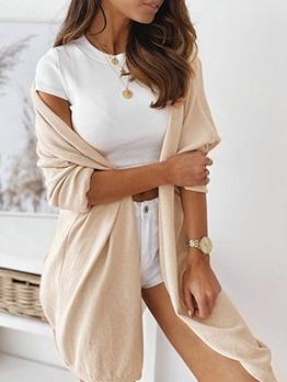 Versatile Solid Long Sleeve Ladies Cardigans