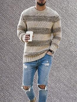 Crew Neck Knitting Striped Sweater