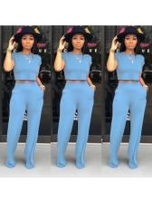 Fashion Solid Wide Leg Pants Two Piece Sets