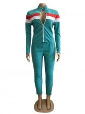 Contrast Color Zipper Up Two Piece Pants Set