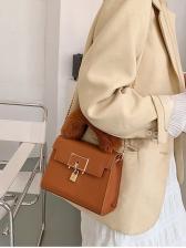 Metal Lock Plush Handle Chain Crossbody Bags