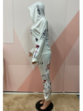 Letter Printed Hooded Autumn 2 Piece Pants Set
