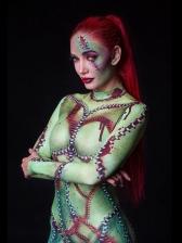 Halloween 3D Print Mock Neck Bodycon Jumpsuit
