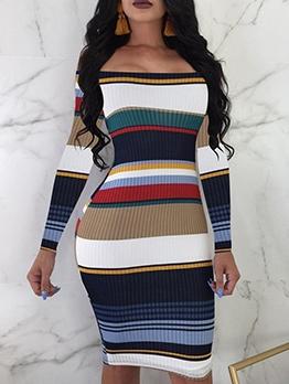 Off Shoulder Color Block Striped Long Sleeve Dress