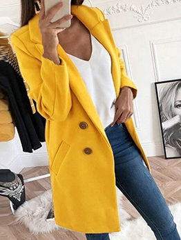 Hot Sale Solid Woolen Coats For Women