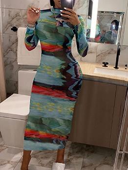 Mock Neck Printed Long Sleeve Bodycon Maxi Dress